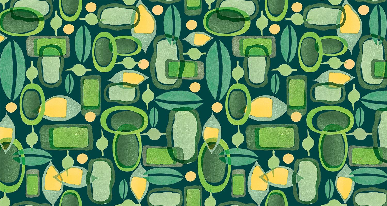 Estampado geométrico en tonos verdes. Gudulab - diseño de estampados.