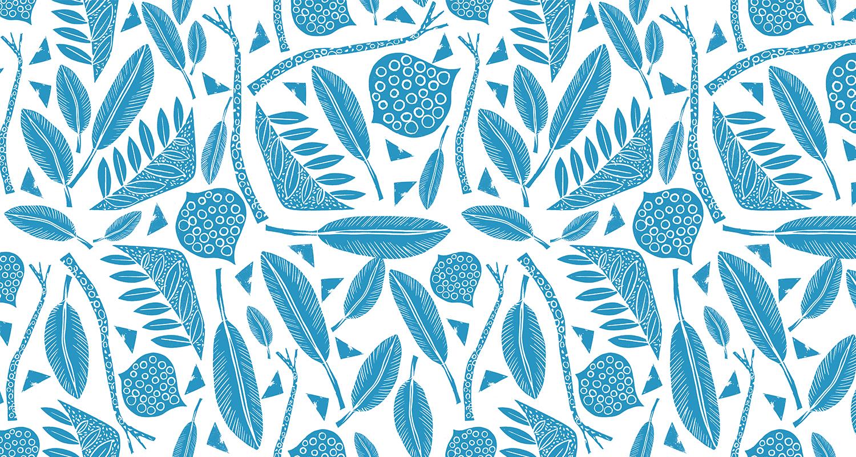 Estampado artesanal en versión de color azul.Gudulab - diseño de estampados.