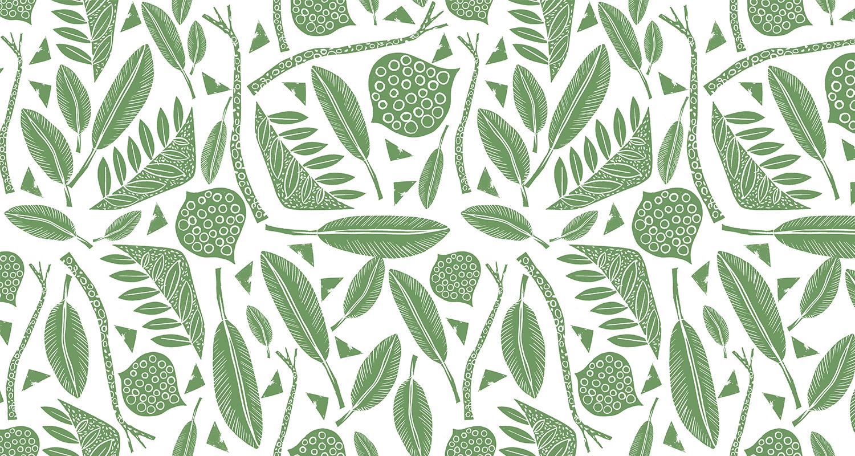 Estampado artesanal en tonos verdes. Gudulab - diseño de estampados.