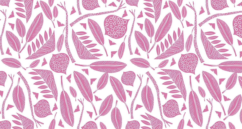 Diseño de estampado artesanal en color rosa. Gudulab - diseño de estampados.